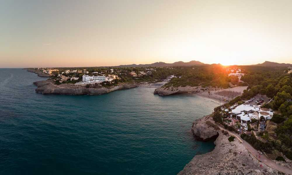 Calas de Mallorca harbor from above on a beautiful sunset