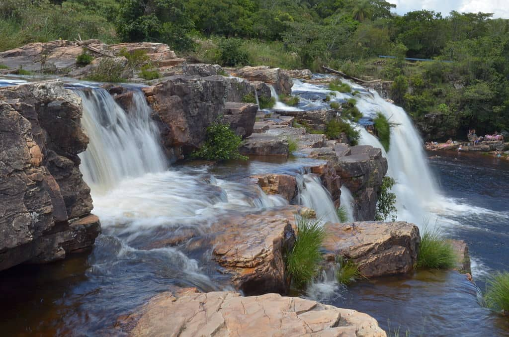Rocks and water mingle at a waterfall in the Serra do Cipó