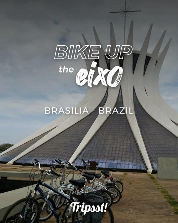 Bikes parked in front of the Metropolitan Cathedral of Brasilia