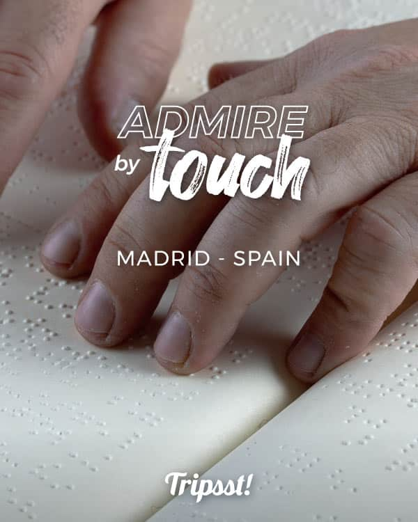 Reading on Braille script, by touching the pages