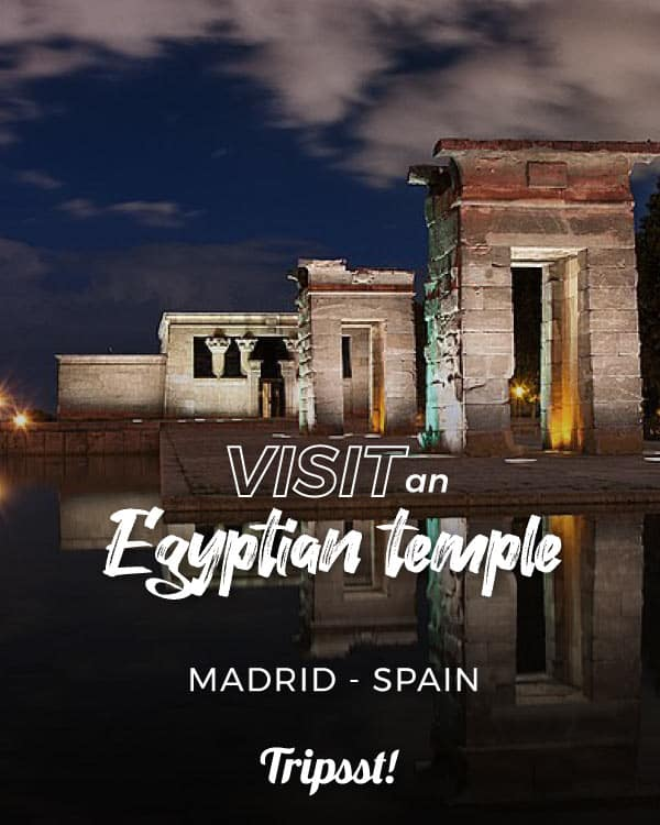 Nighttime view of the Temple of Debod in Madrid