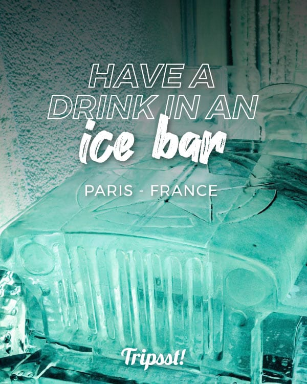 Front of an ice car inside the bar