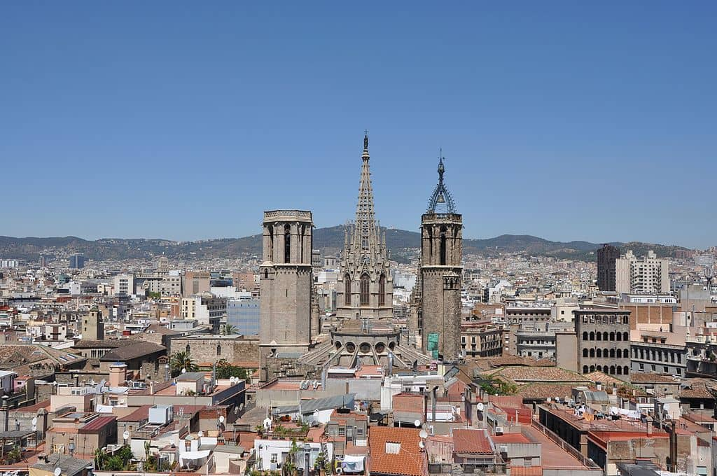 View of the Barcelona Cathedral over the Barri Gòtic of the city