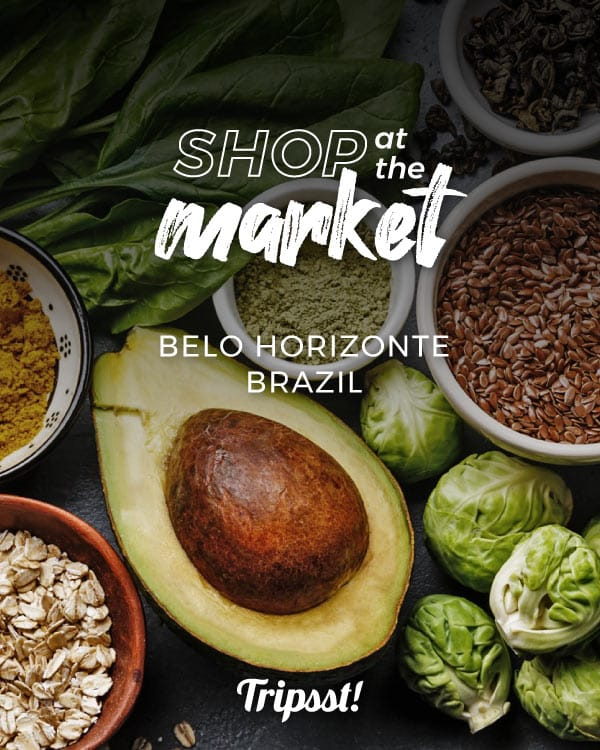 A display of distinct products, such as avocado, curry, powdered oregano, chard, and Brussels sprouts