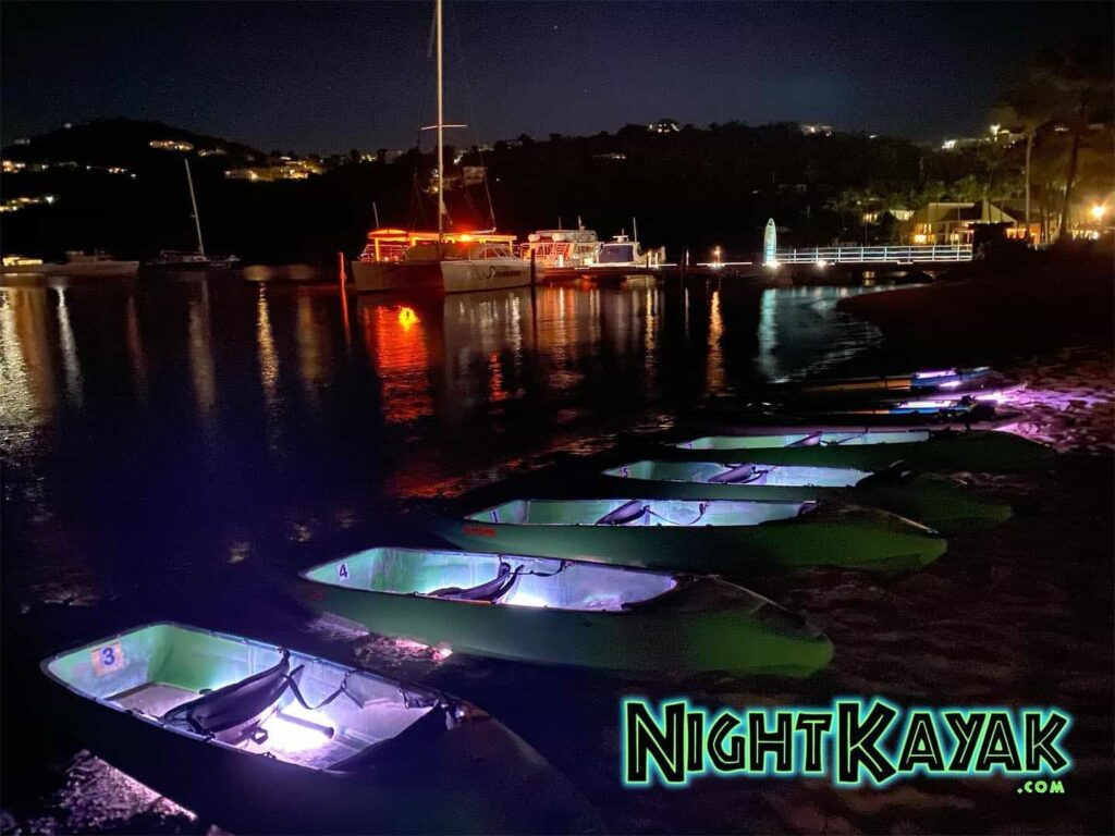 One kayaks are on the shore parked, they are full of lights