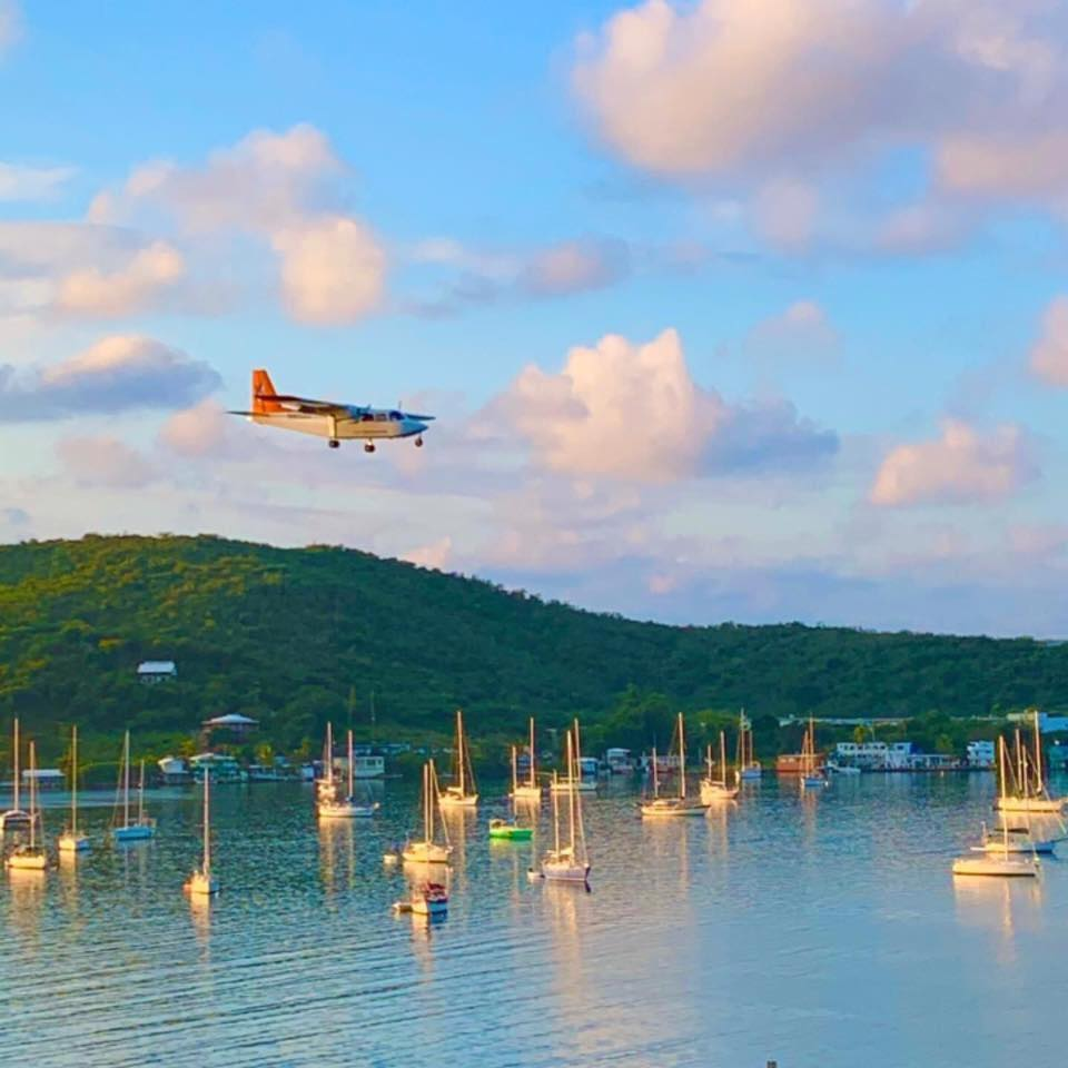 Aircraft flying over the water