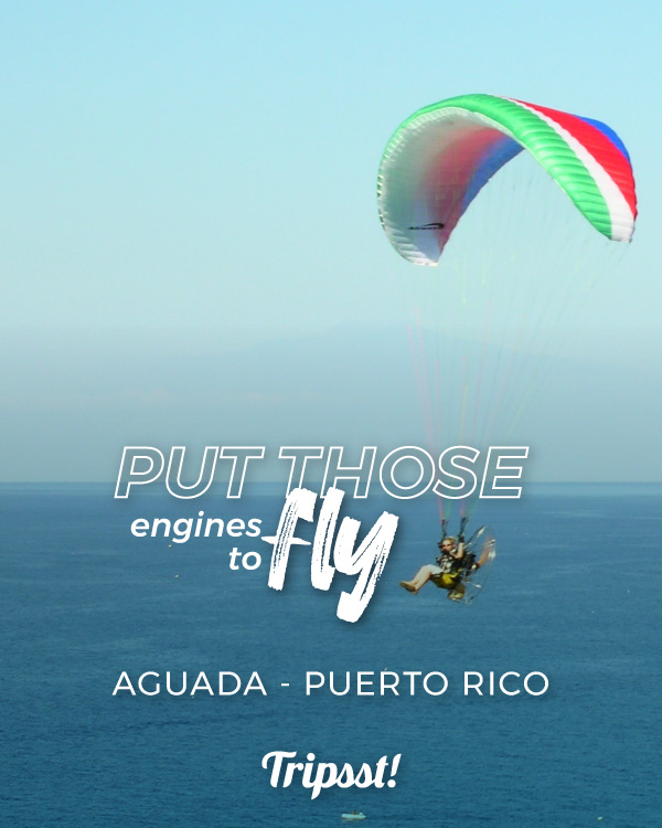 Flying with a paramotor over the sea