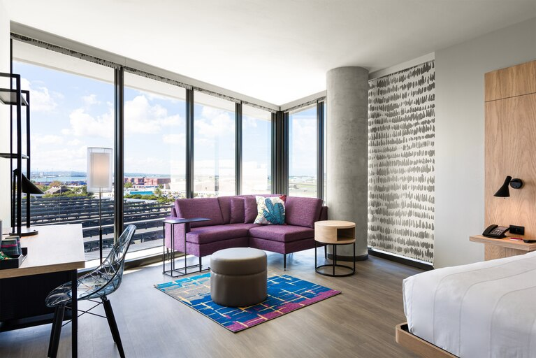 """One of the """"Loft inspired"""" rooms from the hotel"""