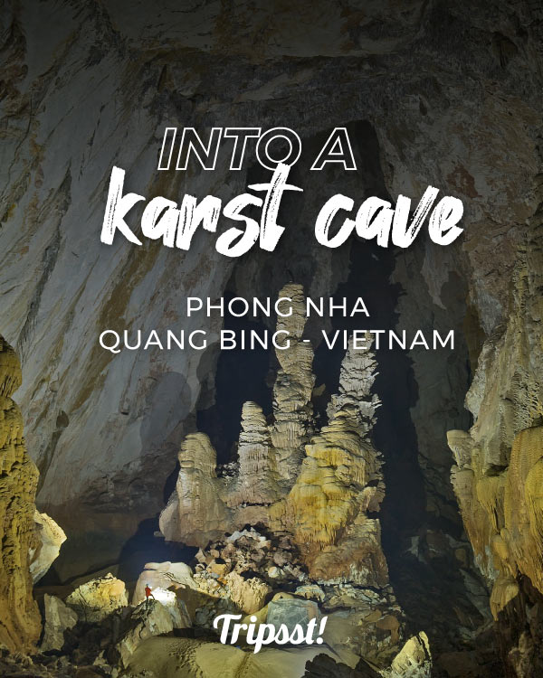 View inside a limestone cave, rich in rocky formations