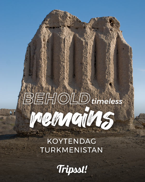 Ruined building on a desertic location in Turkmenistan.